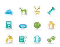 De toebehoren van de hond en symbolenpictogrammen Stock Fotografie