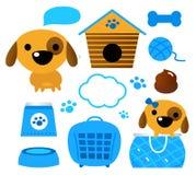 De toebehoren van de hond geplaatst die op (blauw) wit worden geïsoleerde Stock Afbeeldingen