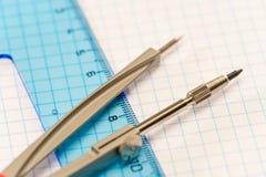 De toebehoren van de meetkunde voor elementaire klassen Stock Afbeeldingen
