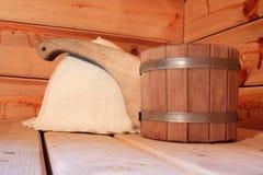 De toebehoren van de sauna Stock Foto