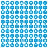 de toebehorenpictogrammen van 100 vrouwen geplaatst blauw Royalty-vrije Stock Foto