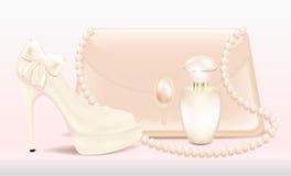 De toebehorenvrouwen van de huwelijks van high-heeled de mooie gelakte handtas de schoenendame van vastgestelde Bruid en een fles vector illustratie