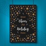 De Toejuichingkaart van de Kerstmisvakantie, Kerstmisaffiche, Begroetende prentbriefkaar, uitnodiging, vlieger stock illustratie