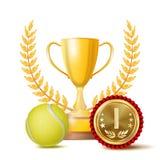 De Toekenningsvector van de tennisvoltooiing De achtergrond van de sportbanner Gele Bal, Winnaarkop, Gouden 1st Plaatsmedaille re Stock Afbeelding