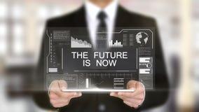 De Toekomst, Hologram Futuristische Interface, wordt nu vergroot Virtuele Werkelijkheid stock illustratie