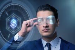 De toekomst van munt die met zakenman handel drijven stock fotografie