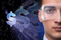 De toekomst van munt die met zakenman handel drijven royalty-vrije stock foto's