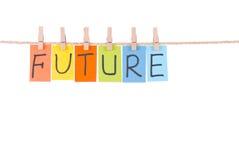 De toekomstige, Kleurrijke woorden hangen op kabel royalty-vrije stock afbeelding