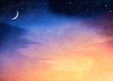 De toenemende Zonsondergang van de Maan Stock Afbeeldingen