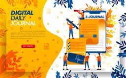 De toepassing schrijft een dagboek voor journalistiek, schrijft een dagboek of een artikel met smartfone, concepten vectorilustra vector illustratie