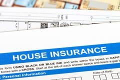 De toepassing van de huisverzekering Stock Afbeelding