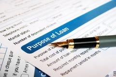 De toepassing van de lening Stock Foto