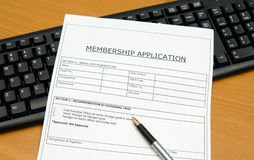 De toepassing van het lidmaatschap Stock Foto