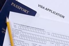 De Toepassing van het visum Stock Afbeeldingen