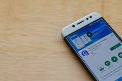 360 de toepassing van Veiligheidslite dev op Smartphone-het scherm De spanningsverhoger, Reinigingsmachine, Applock is freeware W stock foto's