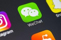 De toepassingspictogram van de Wechatboodschapper op Apple-iPhone 8 het close-up van het smartphonescherm App van de Wechatboodsc stock foto's