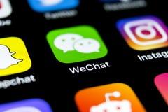 De toepassingspictogram van de Wechatboodschapper op Apple-iPhone X het close-up van het smartphonescherm App van de Wechatboodsc royalty-vrije stock fotografie
