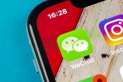 De toepassingspictogram van de Wechatboodschapper op Apple-iPhone X het close-up van het smartphonescherm App van de Wechatboodsc royalty-vrije stock foto's
