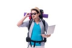 De toerist die richting met laptop proberen te vinden stock foto's