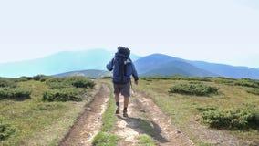 De toerist gaat in bergen stock video
