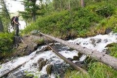 De toerist kruiste het logboek over de rivier stock fotografie