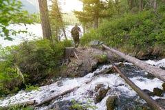 De toerist kruiste het logboek over de rivier royalty-vrije stock fotografie