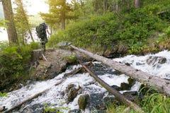 De toerist kruiste het logboek over de rivier stock afbeelding
