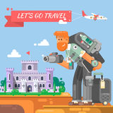 De toerist met een koffer en een camera gaat naar het karakter van de kasteelfotograaf met camera die foto's nemen Stock Foto's