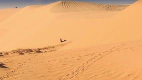De toerist probeert te voorschijn haalt Vierling van Zand in Zandduinen stock videobeelden
