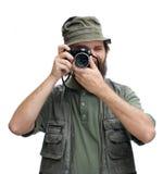 De toerist van de fotograaf met camera Stock Afbeeldingen