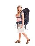 De toerist van de vrouw backpacker Stock Fotografie