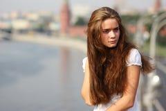 De toerist van de vrouw in Moskou Royalty-vrije Stock Foto's