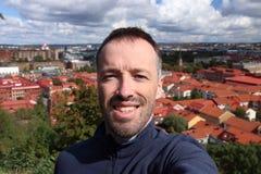 De toerist van Zweden selfie stock fotografie