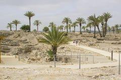 De toeristen bekijken de ruïnes in de oude stad van Meggido Israël stock afbeelding