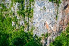 De toeristen berijden op Zipline door de canion van Tara River Royalty-vrije Stock Afbeeldingen