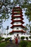 De toeristen bezoeken de grote pagode in de Chinese tuin, Singapore Stock Fotografie