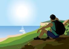 De toeristen genieten van de mening vanaf de bovenkant van de berg royalty-vrije illustratie