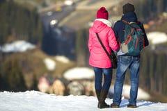 De toeristen koppelen het genieten van berg van mening Royalty-vrije Stock Afbeelding