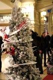 De toeristen nemen beelden van de Kerstboom in de opslag 'GOM ' stock afbeelding