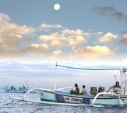 De toeristen op avontuurlijke dolfijn reizen bij zonsopgang, Lovina, Bali, Indonesië Stock Fotografie