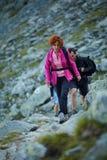 De toeristen op een berg slepen Stock Afbeelding