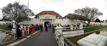 De toeristenbestemming van het Vredebrugfort in Jogjakarta centraal Java Indonesië royalty-vrije stock foto's