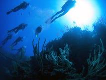 De toeristengroep van de scuba-uitrusting stock afbeeldingen