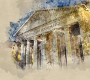 De toeristische attractie van Rome - het beroemde Pantheon royalty-vrije illustratie