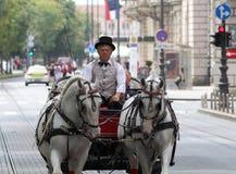 De Toeristische attractie van Zagreb/Oude Vervoer/Taxichauffeur royalty-vrije stock fotografie