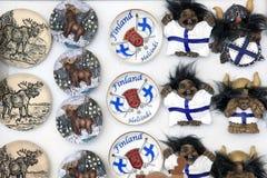 De toeristische giften van Finland, magneten Stock Foto