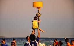 De Toernooien van strandkorfball Stock Foto's