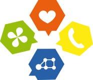 De toespraak borrelt hexagon stijlillustratie Stock Foto's