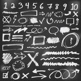 De toespraak borrelt schetskrabbels in zwart bord Stock Foto's