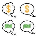 De toespraak en de gedachte borrelen met dolar en geld Vector Illustratie